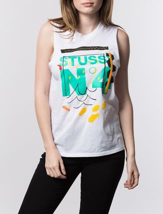 STUSSY Tシャツ・カットソー ステューシー 2941310 WOMEN NO. 4 DOODLE MUSCLE TEE WHITE(2)