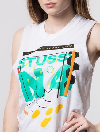 STUSSY Tシャツ・カットソー ステューシー 2941310 WOMEN NO. 4 DOODLE MUSCLE TEE WHITE(3)
