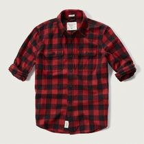 【国内即発!】アバクロ PLAID FLANNEL SHIRT★RED CHECK★M