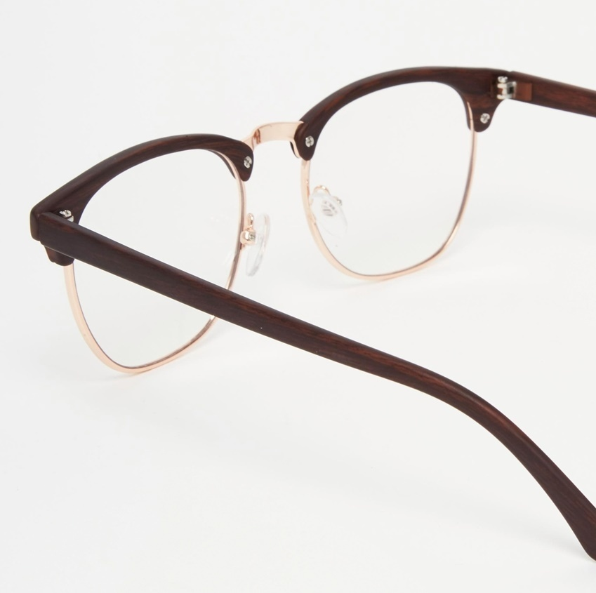 * ASOS * * WOOD CLUBMASTER clear glasses without lenses ...