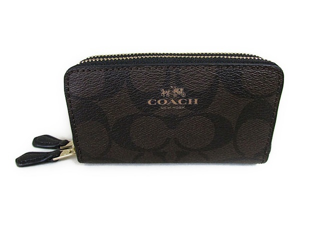 COACH Signature PVC Small Double ZIP Coin Case F63975