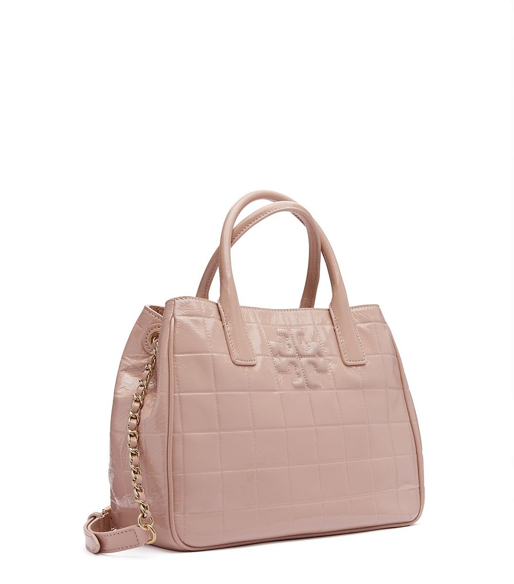 Tory Burch Marion Quilted Patent Tote (ベージュ)