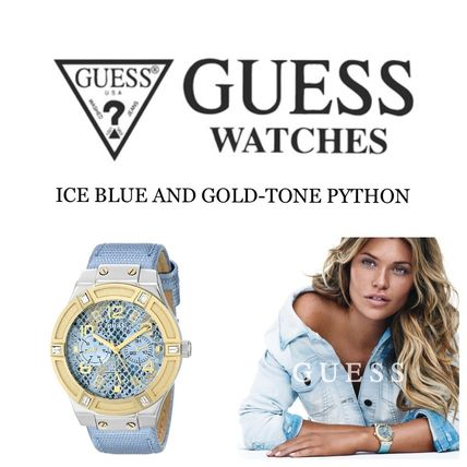 GUESS≪期間限定セール≫ ICE BLUE AND GOLD-TONE PYTHON腕時計
