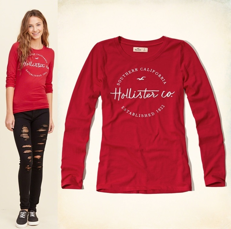 ★即発送★在庫あり★Hollister Embroidery Shine Graphic Tee★