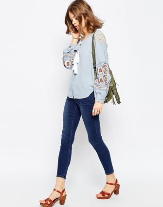 ★ASOS Ultimate Embroidered Peasant Blouse in Chambray