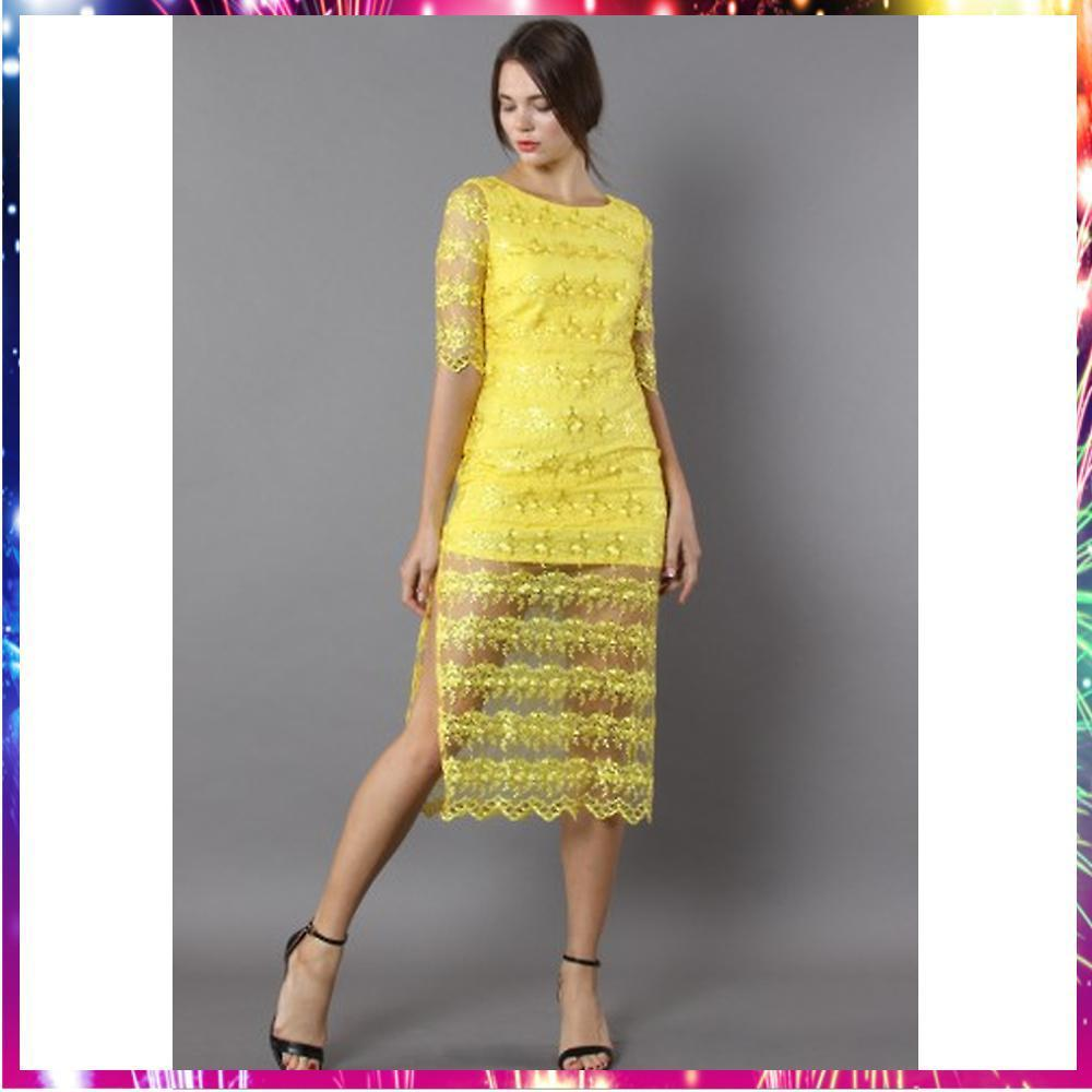 送料関税込・国内発送Vibrance Cutout Waist Yellow Dress