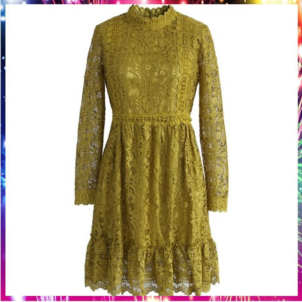 送料関税込・国内発送Retro Delicacy Mustard Lace Dress