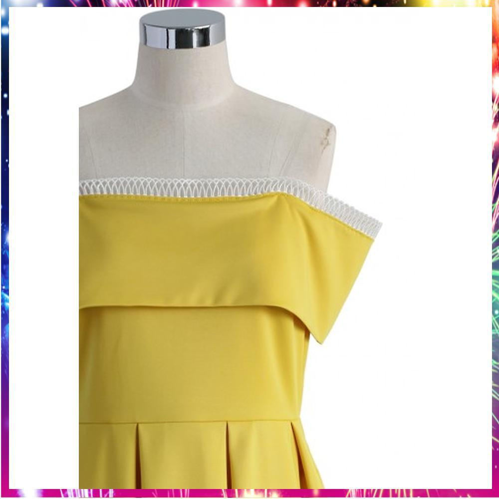 送料関税込・国内発送Swanky Off-Shoulder Yellow Dress