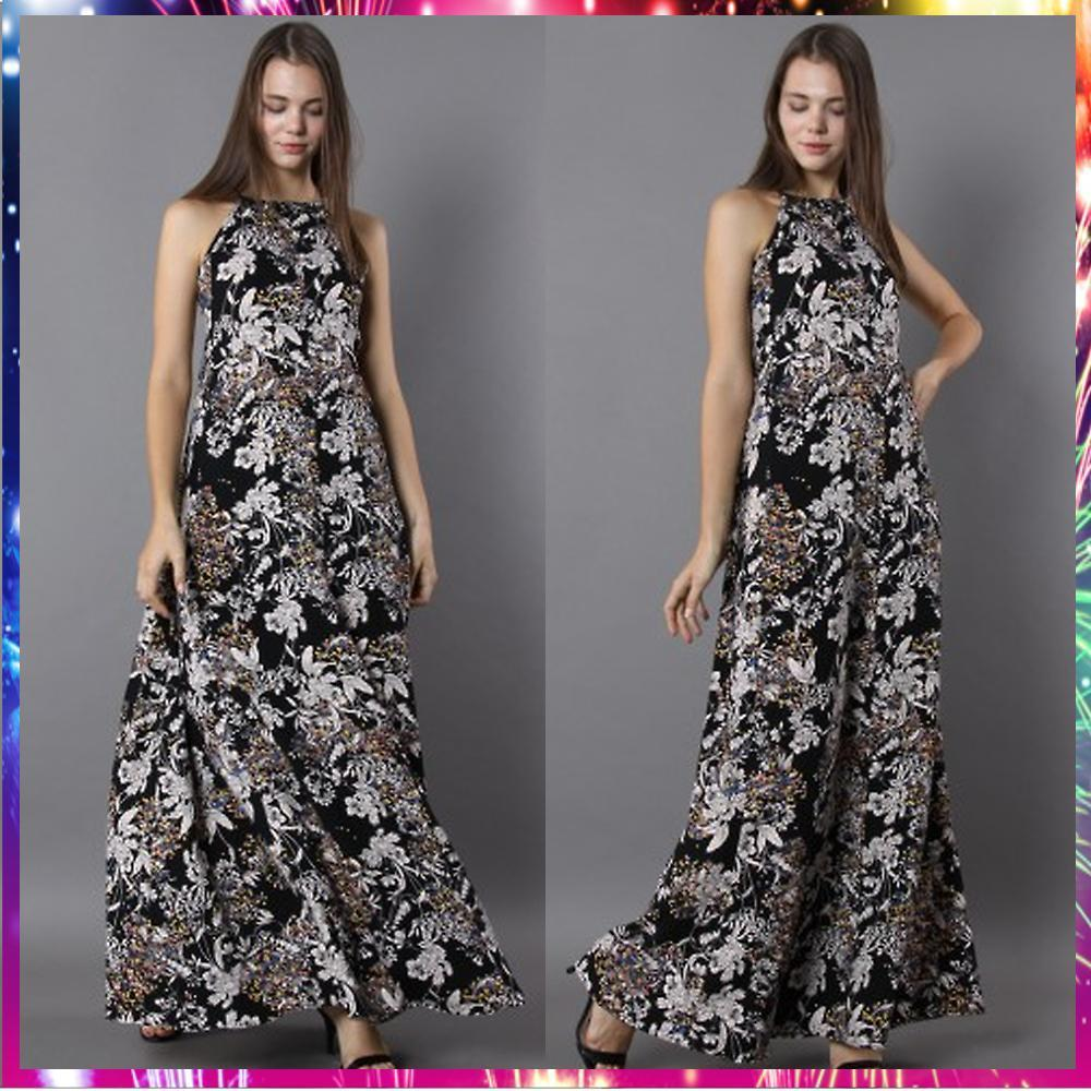 送料関税込Blooming Flair Lace-up Open Back Maxi Dress