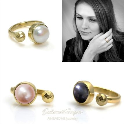 14K ゴールド パール リング pearl stacking ring
