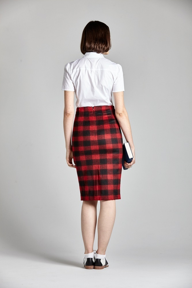 L'ecole Des Femmesルコルドファム☆PLAID WOOL PENCIL SKIRT