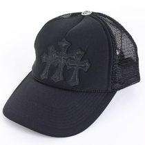【CHROME HEARTS】キャップ 3 Cemetery Cross Black Leather