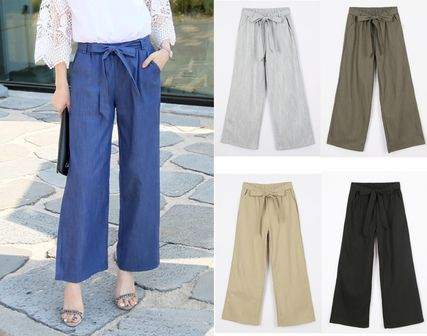 Fresh linen material ribongauchopants pants 5 colors