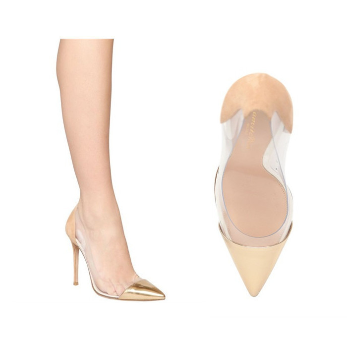 Gianvito Rossi  100MM METALLIC LEATHER & SUEDE PUMPS