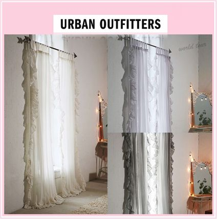 Urban Outfitters カーテン ★Urban Outfitters★フリルガーゼカーテン◇2枚組◇ 追跡No付♪