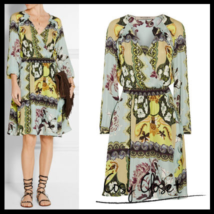 ETRO 2016SS☆Wrap-effect printed silk dress