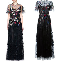 16SS V290 FLORAL EMBROIDERY BEAD APPLIQUE TULLE GOWN