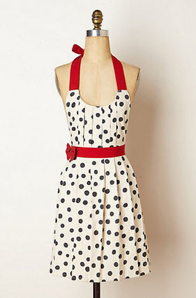 Koushoku lovely polka dot Polka Pleats apron
