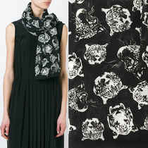 16SS WSL810 TIGER HEAD PRINTED LARGE SQUARE SCARF