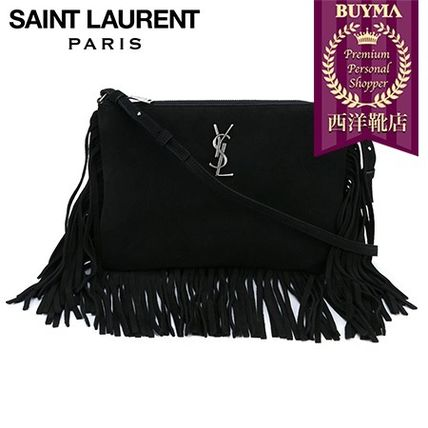 SAINT LAURENT┃16SS┃FRINGED SUEDE CROSS BODY POUCH