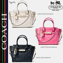 COACH★スワッガーSWAGGER 21 CARRYALL CROC EMBOSSED LEATHER♪