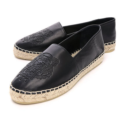 KENZO 16SS Tiger leather espadrilles and Slip-on _BLACK