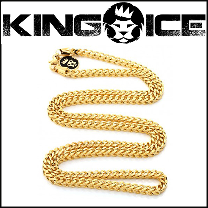 "Tyga愛用BR ""King Ice"" 4MM 14K GOLD STAINLESS STEEL FRANCO"