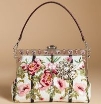 16SS DG394 EMBELLISHED 'VANDA' BAG IN PRINTED BROCADE