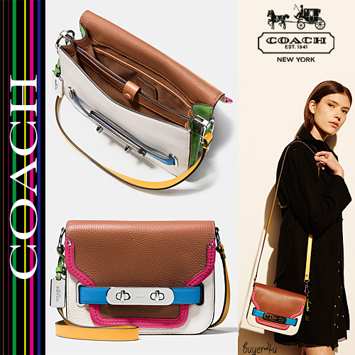 COACH★SWAGGER SHOULDER BAG RAINBOW COLORBLOCK LEATHER 37702