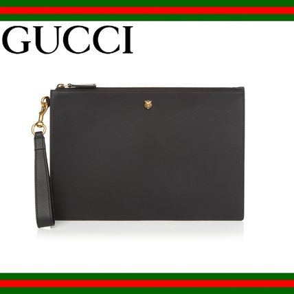 GUCCI(グッチ) Black leather pouch clutch bag クラッチバッグ