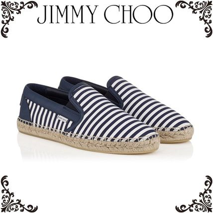 2016SS*JIMMY CHOO*Blue and White Striped Cotton Espadrilles