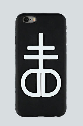 Blasphemy iPhone 6+ ケース Black and white rubber logo case