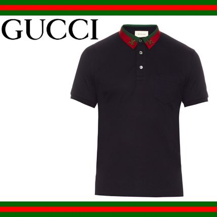 GUCCI(グッチ) Bee embroidered pique polo shirt ポロシャツ