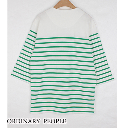 【Ordinary People】韓国人気★GREEN STRIPE Tシャツ/追跡付