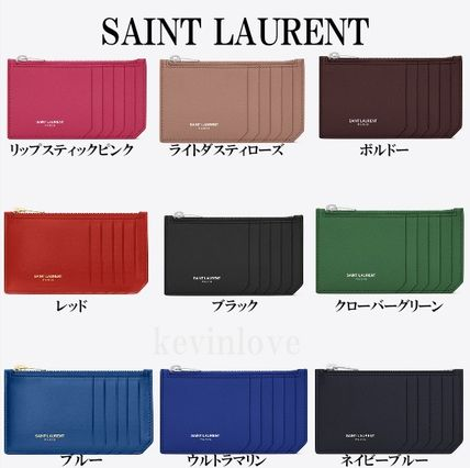 New colors in stock SAINT LAURENT zip case with leather