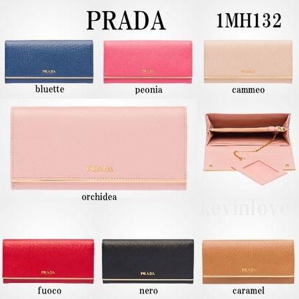 PRADA SAFFIANO gold plate with long wallet 1MH132