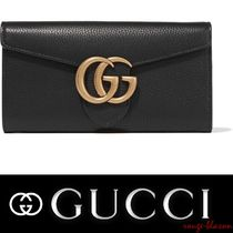 【国内発送】GUCCI GG Marmont textured-leather wallet