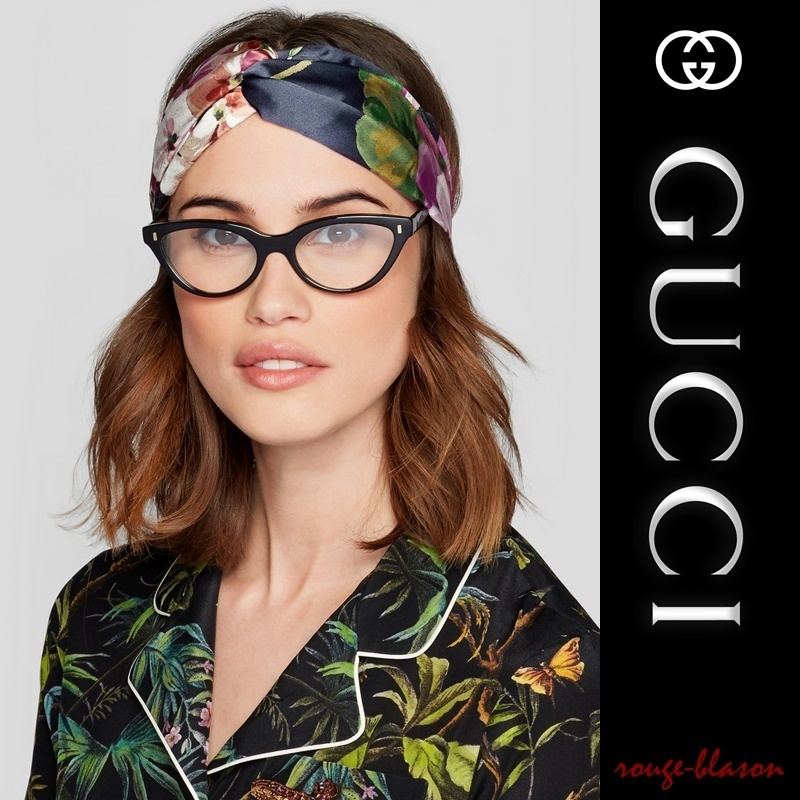 【国内発送】GUCCI Floral-print silk-satin headband