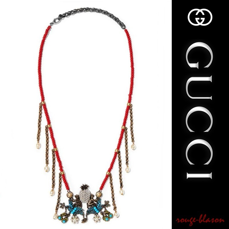 【国内発送】GUCCI Burnished gold-tone beaded necklace