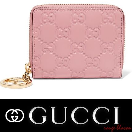 【国内発送】GUCCI Icon embossed leather wallet ピンク