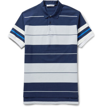 Columbian-Fit Striped Cotton-Pique Polo Shirt ポロシャツ