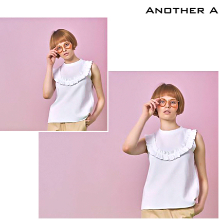 【ANOTHER A】韓国人気★CUTE ラッフルタンクトップ WHT/追跡付