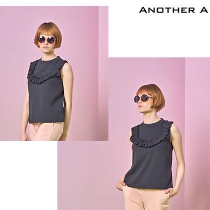 【ANOTHER A】韓国人気★CUTE ラッフルタンクトップ BLK/追跡付