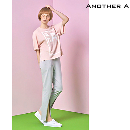 【ANOTHER A】韓国人気★シンプル!ロゴ入りTシャツ PINK/追跡付