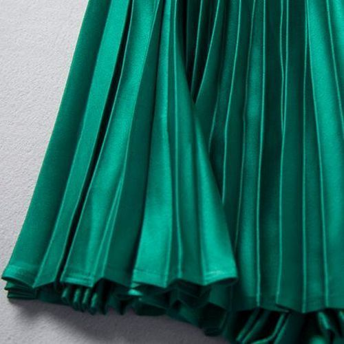 a line satin pleated midi length skirt buyma
