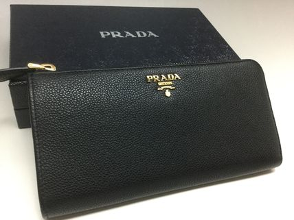 PRADA top quality leather L-shaped zip long wallet black