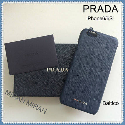 【送料込】PRADA★人気色BALTICO★Saffiano iphone6/6Sケース