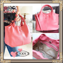 TOD'S(トッズ) トートバッグ 国内即納TOD'SトッズCute★Pink上質レザー2wayトートバッグ