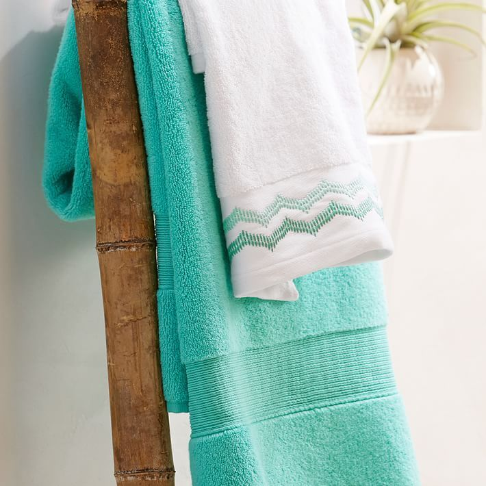 【国内発送】PotteryBarn☆Embroidered Border Bath Towels☆
