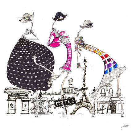 Marmont Hill★Paris in Threesキャンバスアート